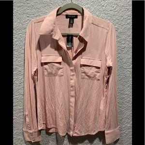 WHBM Rose Mist Button Down LS woven trim shirt